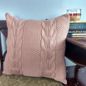 Mauve Pink Crocheted Throw Pillow Cover